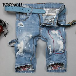 Wholesale Mens Skinny Denim Shorts - Wholesale- VESONAL 2017 Summer High Quality Straight Hole Ripped Mens Denim Jeans Shorts Men Fashion Casual Short Pants Pantalones V13150