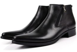 Wholesale Male Genuine Leather Boots - men boots genuine leather black Pointed Toe luxury fashion classic business office formal ankle boots men shoes male