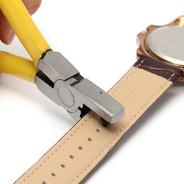 Wholesale watch straps for sale - Hot Sale!!! Yellow Watch for Band Strap Link Belt Hole Punch Plier Eyelet Leather Hand Repair Tool Excellent Quality