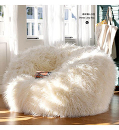 Wholesale Outdoor Bean Sofas - Free shipping sofa set living room furniture luxe bean bag faux fur adult outdoor long faux fur lounge Chair corner sofa bed