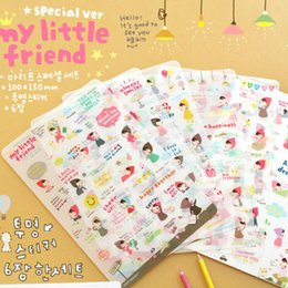 Wholesale Calendar Notebook - Wholesale- 6 Pcs lot Cartoon Print Memo Pad Sticker Notebook Album Calendar Memo Message Diary Notes Decor Scrapbook Paper Sticker