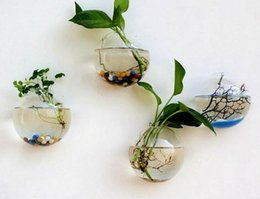 glasses aquariums Promo Codes - New Hanging Flower Pot Glass Ball Vase Terrarium Wall Fish Tank Aquarium Container Home Decor