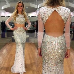Wholesale Long Crystal Sequin Trains - Luxury Crystal Sequins Two Pieces Prom Dress White Jewel Long Sleeve Open Back Sweep Train Evening Dresses 2017 New