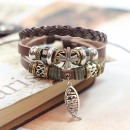 Wholesale religious free - Hot seling 24pcs lot Retro Cross Leather Charm Bracelets With Pendant Christian Rivet Wristbands European Jesus Bracele Jewelry Free shippin