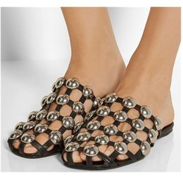 Wholesale Caged Heels - 2017 Women Caged Studded Slides New Fashion Women Celebrity Shoes Amelia Women Sandals Soft Leather Zapatos Mujer