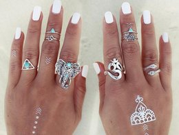 Wholesale Finger Triangle - 8 pieces set Antique Gold Silver Color Flower Midi Finger Rings Hollow elephant turqu triangle Women Knuckle Ring Set Bohemian Jewelry 29