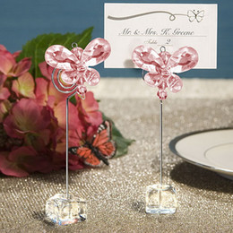 Wholesale Wedding Place Decoration - Wedding Favor Butterfly Place Card Holders Crystal Stainelss Steel Wedding Centerpieces Table Decoration DHL Free Shipping