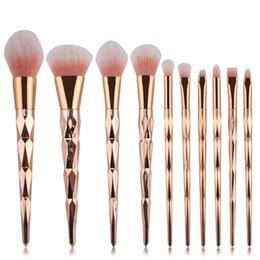Wholesale Golden Pro - 10Pcs Pro Diamond Shape Makeup Brush Set Powder Blusher Eyeshadow Eyeliner Eyebrow Lip Brush Rainbow Golden Cosmetic Tool Kits