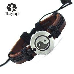 Jiayiqi Vintage Lederarmband Neue Heiße Frauen Handgemachte Schnur Armband Aus Echtem Leder Armreif Für Frauen Männer Schmuck von Fabrikanten