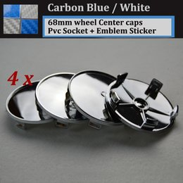 Wholesale M3 Carbon - 68mm 2.68inch Carbon fiber Blue White pvc badge car wheel center Hub Caps Emblem Rims car caps 4x 20x 100x for E46 E36 E39 E38 E90 E60 M3 M5