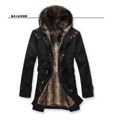 Wholesale Fur Slim Fit Jacket Men - Wholesale-HOT Long Thick Men Outdoors Jacket Parka coats Fur Lining Jacket Mens Winter Trench Coat Hooded 2017 Fashion Slim Fit Outerwear