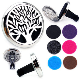Wholesale Aroma Pendant Necklace Wholesale - 30mm Diffuser 316L Stainless Steel Pendant Car Aroma Locket Essential Oil Car Diffuser Lockets Vent Clips Free Pads
