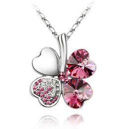 Wholesale Half Pendants - Wholesale- Fashion Austria Crystal Sweet style half rhinestone crystal clover Pendant Necklace