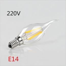 Wholesale Led Candle Lamp Shade - 10X 220V E14 Glass Shade LED lamp 360 Degree 2W 4W Retro Edison LED Filament Bulbs Candle light COB Chandelier for Art lighting