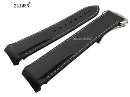 Wholesale 18mm Silicone Watch Strap - Wholesale- 20mm (Buckle 18mm) Black White line Waterproof Watchbands Diving Silicone Rubber Watch bands Straps with Silver buckle