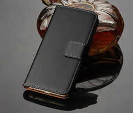 Wholesale Iphone 5s Leather - High Quality Flip Wallet Genuine Leather Case Magnetic For Iphone 5 5s 5c 6 6 plus 7 7 plus