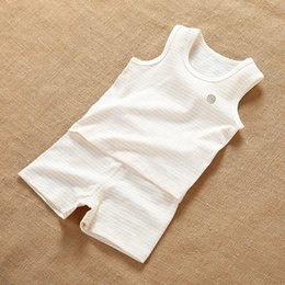 Wholesale Boys Summer Clothes New - Spring and summer children's clothing new natural color cotton striped vest shirt shorts suit thin section breathable sweat sweat children's