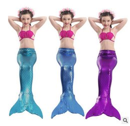 Wholesale Big Blue Swimming - Big Girls mermaid swimwear 3-12T kids swimsuit kids shell bikini fish scales tail Swim skirt 3pcs sets fashion children beach clothing T3255