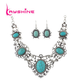 Wholesale Wedding Jewelry Blue Color - Jewelry Sets Antique Silver Color Big Bule Stone Flower Collar Maxi Necklace Female and Drop Earrings Vintage Accessories