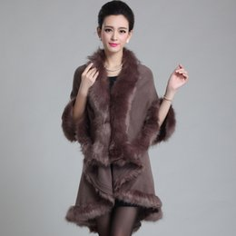 Wholesale Wool Cape Fur Collar - Wholesale- New 2015 Winter Fashion Knitted Cardigan Women Bat Cape Shawl Collar Fashion Female women Faux Fur Coats Overcoat Outwear