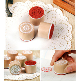 Wholesale Sewing Stamps - Wholesale- 1Pcs Hot Lace series Round wood Retro pattern seal Art Craft Sewing Stamping DIY Handmade Stamp Home Decor Accessories 8z-cx902