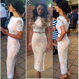 Wholesale Ankle Length Graceful Dresses - White Prom Dresses 2017 Tea Length Formal Dresses Graceful Scoop Neck Short Sleeves Slit Appliques Lace 2 Piece Prom Dresses