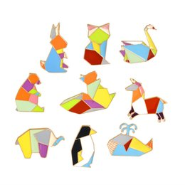 Wholesale Mexican Jacket - Penguin Rabbit Elephant Bear Fox Squirrel Pins Brooches Button Pins Geometry Animal Denim Jacket Pin Badge Cartoon Jewelry Gift Wholesale