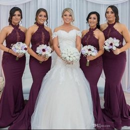 Wholesale Hot Arabic Wedding Dresses - New Hot Purple Grape Mermaid Bridesmaid Dresses 2018 Elegant Arabic Halter Neck Lace Appliques Wedding Guest Party Dresses Vestido de Feista