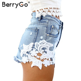 Wholesale Hot Girls Sexy American - BerryGo Summer 2016 ripped pocket high waist women casual shorts Sexy lace blue denim shorts Vintage jeans girl hot shorts q171118