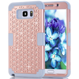 Wholesale Iphone 5c Hard Silicone - Diamond For iPhone 6 6s plus 5 5s SE 5C galaxy note5 Shockproof Protect Hybrid Hard Rubber Impact Skin Armor Cases Cover