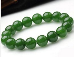 Wholesale Sterling Silver Beaded Bracelets - 8mm Genuine Natural Green Jade Round Gemstone Beads Stretch 2PC Bracelet 7.5'' AAA
