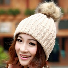 Wholesale Grey Fur Raccoon - Faux Raccoon Fur Ball Cap Poms Winter Hat Women Girls Hat Knitted Beanies Cap Brand New Thick Female Slouch Elastic Cap Colors SV007977