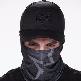 Wholesale Watch Cap Black - Wholesale- New 2017 Watch Dogs Aiden Pearce Black Baseball Cap Sport Sun Hat Cosplay Adjustable Strap Snapback Cap Men