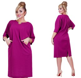 Wholesale American Splits - Fashion Loose Women Dress 3 4 Sleeve Spring Casual Plus Dress Blue Purple Simple American Design Clothes For Women
