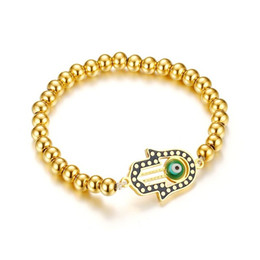 Wholesale Blessing Fashion - Meaeguet Women Strand Bracelets Stainless Steel Ball Beads Hamsa Horus Eye Religious Blessing Fashion Bracelet Jewelry 2017 New