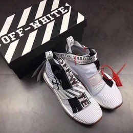 Wholesale White Fur Socks - With Box OFF White NMD City Sock MID Shoes 10X Virgil Abloh Real Boost Sneaker OW Black White Zip BA7208 Urban Nomad EUR40-45