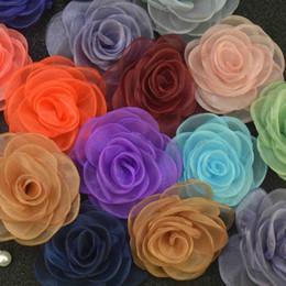 Wholesale Wholesale Elegant Dress Fabric - elegant flower brooch lapel pins handmade boutonniere stick with fabric camellia for ladies dresses wear women accessories