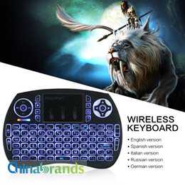 Wholesale Backlight Computer Keyboards - iPazz Port Wireless Mini Russian Spanish Keyboard Backlight 2.4GHz Wireless Remote Control For HD Device Android TV Box Computer