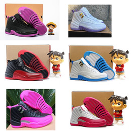 Wholesale Dynamic Black - 2017 air retro 12 women basketball shoes ovo white GS Dark Purple Dust Dynamic white Pink Hyper Violet University blue Barons taxi sneakers