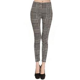 Wholesale Top Jeggings - 2017 New Women Leggings Top Fashion Houndstooth Printed Jeggings High Quality Skinny Leggings Elastic Feet Pants Women Pants LG012