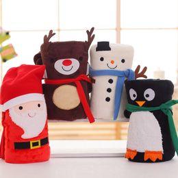 Wholesale Cartoon Coral - 4styles Christmas Cartoon Coral fleece Blankets 2sizes Santa Claus Reindeer Snowman Penguin Blankets Portable Travel Blankets Xmas Gifts Plu