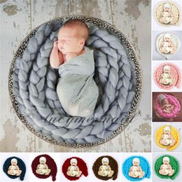 Wholesale Crochet Baby Basket - DHL Fedex Free Newborn Baby Photography Props Baby handmade crochet Photo Blanket 12 Colors 4M Long Basket Acrylic Filler Braid Basket L198M