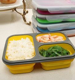 Wholesale Storage Box S - Silicone Collapsible Food Storage Containers s LunchBox Folding Stackable Portable Lunch Box Bowl Bento Boxes Lunchbox KKA1325