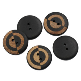 Wholesale Buttons Sewing 23mm - Kimter Black Engraved Stripes Sewing Buttons With 2 Holes Buttons 23mm For DIY Crafting Cartoon Decorative Accessory Pack Of 50pcs I709L