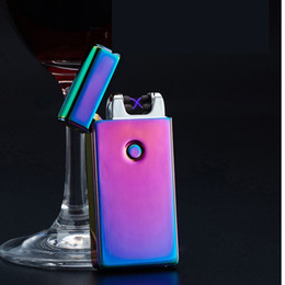 Wholesale Metal Electric Cigarettes - Electronic Lighter DUAL Arc Windproof Ultra-thin Metal Pulse USB Rechargeable Flameless Electric Arc Cigar Cigarette Lighter Hot Sales wa286