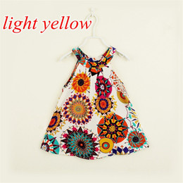Wholesale China Wholesale Girl Dresses - INS Girls flower vest Princess Dress New Summer Style Girls Clothes Sleeveless Sunflowe Print Design China Dresses Children Clothes 2-7Y