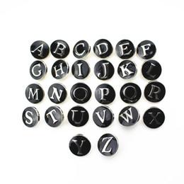 Wholesale Rhinestone Slide Bracelets - Hot selling 26pcs lot Black Alphabet A-Z Letters Snap Buttons For 18mm Snap Necklace Bracelet&Bangles DIY Snap Jewelry pendant Charms