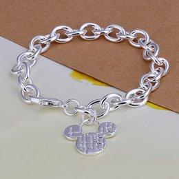 Wholesale Silver Pendant Bracelets - Wholesale-Mickey Pendant silver charm bracelet fashion 925 jewelry beautiful cute birthday gift Woman jewelry good quality