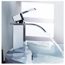 Wholesale Vanity Ceramic Sink Sale - Wholesale- Wholesale And Retail Free Shipping Hot Sale Waterfall Bathroom Faucet Deck Mounted Chrome Brass Vanity Sink Mixer Tap Hot & Cold