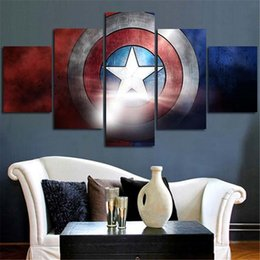 Wholesale Wall Panels For Sale - Hot sale Captain America Wall Painting HD Printed Poster 5 pieces Unframed Canvas paintings for Home decor